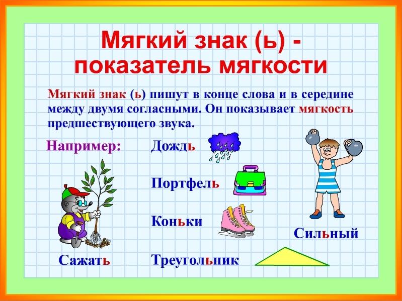 слова с мягким знаком для обозначения мягкости согласных 4 класс